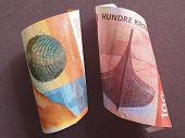 Swiss Banknote Of Ten Francs And Norwegian Bill Of 100 Kroner poster