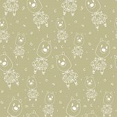 Baby Seamless Pattern With Doodle Outline Of Animals In Clothes Drawn By Hand. Monochrome Childish D poster