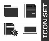 Set Laptop, Document Folder, Document Settings With Gears And File Document Icon. Vector poster