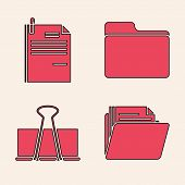 Set Document Folder, File Document And Paper Clip, Document Folder And Binder Clip Icon. Vector poster