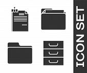 Set Drawer With Documents, File Document And Binder Clip, Document Folder And Document Folder Icon.  poster