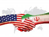 Cooperate Of Usa Vs Iran, Flags On Clenched Hands Facing Each Other On World Map, Vector Illustratio poster