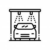 Black Line Icon For Auto-wash Auto Wash Clean Service Autolaundry Transportation Vehicle Automobile poster