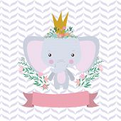 Cute Elephant Cartoon And Ribbon Design, Animal Zoo Life Nature Character Childhood And Adorable The poster