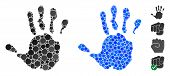 Hand Print Mosaic Of Small Circles In Different Sizes And Shades, Based On Hand Print Icon. Vector R poster