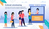 Cultural Volunteering On Charity Event Trendy Flat Vector Banner, Poster Template. Female Volunteer  poster