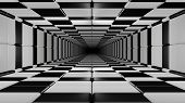Infinite Tunnel In Black And White Chessboard Style 3d Rendering 3d Illustration poster