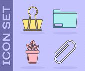 Set Paper Clip, Binder Clip, Flowers In Pot And Document Folder Icon. Vector poster