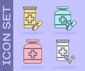 Set Medicine Bottle And Pills, Medicine Bottle And Pills, Medicine Bottle And Medicine Bottle And Pi poster