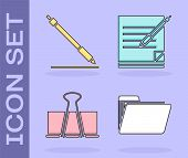 Set Document Folder, Pen Line, Binder Clip And Blank Notebook And Pen Icon. Vector poster