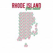 Rhode Island Real Estate Properties Map. Text Design. Rhode Island Us State Realty Creative Concept. poster
