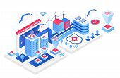 Smart City Isometric Vector Illustration. White Virtual Cityscape. Internet Of Things And It. Futuri poster