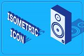 Isometric Stereo Speaker Icon Isolated On Blue Background. Sound System Speakers. Music Icon. Musica poster