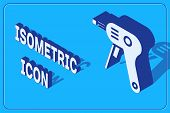 Isometric Electric Hot Glue Gun Icon Isolated On Blue Background. Hot Pistol Glue. Hot Repair Work A poster