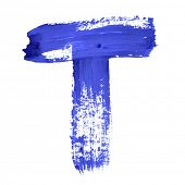 T - Blue handwritten letters over white background
