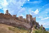 Slovakia Beautiful View Of The Ruined Castle Beckov Castle.slovakia Castle Beckov - Panorama poster