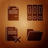 Set Document Folder, File Document And Paper Clip, Delete File Document And Office Folders With Pape poster
