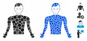 Guy Body Mosaic Of Spheric Dots In Different Sizes And Color Hues, Based On Guy Body Icon. Vector Do poster