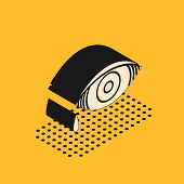 Isometric Reddish Eye Due To Viral, Bacterial Or Allergic Conjunctivitis Icon Isolated On Yellow Bac poster