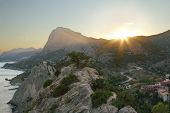 Sunset In The Mountains Of Crimea, Sudak.