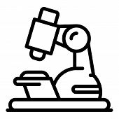 School Microscope Icon. Outline School Microscope Vector Icon For Web Design Isolated On White Backg poster