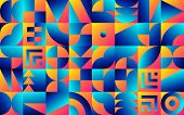 Geometric Pattern With Retro Bauhaus Styled Vibrant Shapes poster