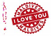 Love Mosaic Maldives Map And Rubber Stamp Watermark With I Love You Phrase. Maldives Map Collage Cre poster