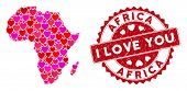 Love Collage Africa Map And Grunge Stamp Watermark With I Love You Text. Africa Map Collage Created  poster