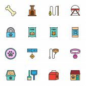 Pet Shop Accessories Filled Outline Icons Set, Line Vector Symbol Collection, Linear Colorful Pictog poster