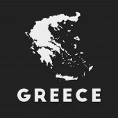 Greece Icon. Country Map On Dark Background. Stylish Greece Map With Country Name. Vector Illustrati poster