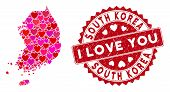 Valentine Collage South Korea Map And Rubber Stamp Seal With I Love You Message. South Korea Map Col poster
