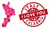 Love Collage Calabria Region Map And Distressed Stamp Seal With I Love You Message. Calabria Region  poster