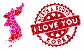 Love Mosaic North And South Korea Map And Distressed Stamp Seal With I Love You Words. North And Sou poster
