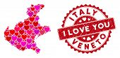 Love Collage Veneto Region Map And Grunge Stamp Seal With I Love You Words. Veneto Region Map Collag poster