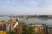 Panoramic Scenery From Buda Castle Area Of Danube River, Parliament Building And City View On Clear  poster