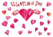 Pink Heart With Wings And Many Small Magenta Hearts Isolated On A White Background. Watercolor Patte poster