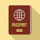 Passport Icon. Flat Illustration Of Passport Vector Icon For Web Design poster