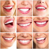 Beautiful woman smile collage background. Dental health.