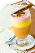 image of macrame  - A glass of pudding dessert on rustic background - JPG
