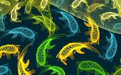 Fractal background. Abstract fishes