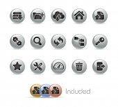 FTP & Hosting Icons // Metal Round Series --- It includes 4 color versions for each icon in different layers---