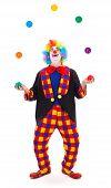 Malabarista Clown atirando bolas coloridas