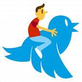 Man On Big Blue Bird