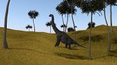 brachiosaurus on grassy hill