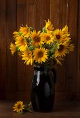 Still life. Bunch of Beautiful Sunflowers  against a wooden wall