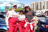 LOS ANGELES - APR 9:  Dakota Meyer, Wanda Sykes, Andy Bell at the Toyota ProCeleb Race Press Day 201