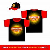 Barbecue t-shirt and cap design.