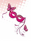 image of carnivale  - Vector illustration of a carnivale mask and colorful butterflies - JPG
