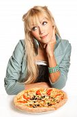 stock photo of guess  - Cheerful blond fashion woman with pizza on white backgroundis guessing should she eat it - JPG