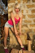 image of ax  - Beautiful blonde girl with an ax chopping firewood - JPG